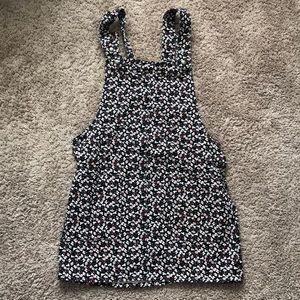 Floral denim overalls dress